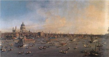 Canaletto's painting of boats on the Thames
